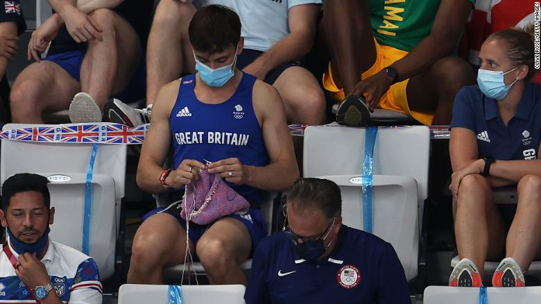 Tom Daley knits a dog sweater during women's final In Tokyo 2020 Olympics